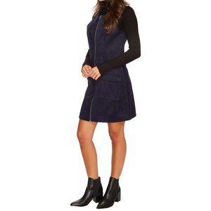 Sleeveless Black Faux-Suede Zip Dress